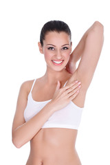 Female touching her clean armpit