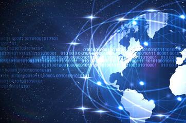 digital world on a dark blue space background