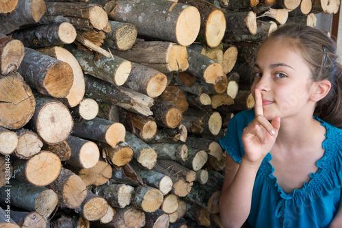 cachée derrière le bois