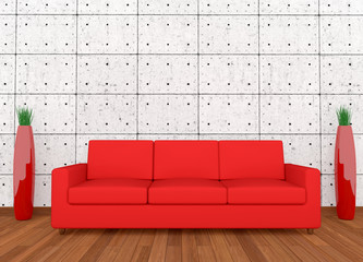 Red sofa and vase