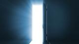 Door opening to a bright light.