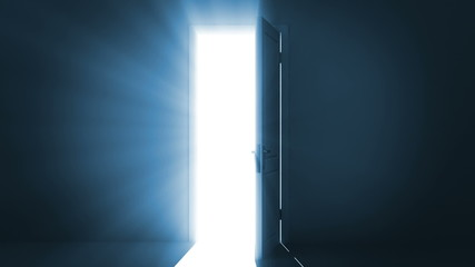 Door opening to a bright light.