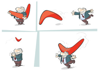 Business man flings a Boomerang.