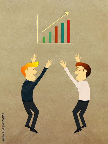 Business man celebration with success growth graph