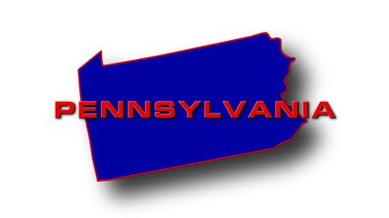 State of Pennsylvania map reveals from the USA map silhouette