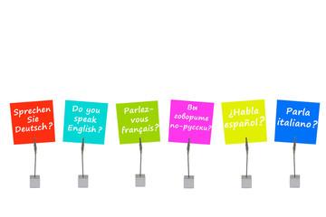 """Bunte Merkzettel und Notizhalter zum Thema """"Fremdsprachen"""""""