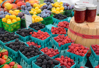 Berries and plums at farmers market