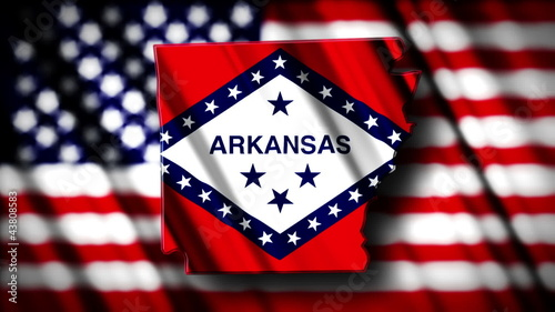 Flag of Arkansas in the shape of Arkansas  state with the USA fl