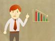 Business man unhappy growth progress graph