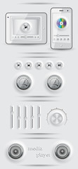 Media icons and buttons. EPS 10 vector illustration.