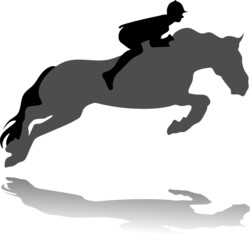 jockey with jumping horse