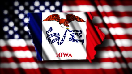 Flag of Iowa in the shape of Iowa state with the USA flag in the