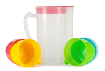 Clear jug with cup