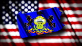 Flag of Pennsylvania in the shape of Pennsylvania state with the