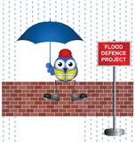 construction worker on flood defence project