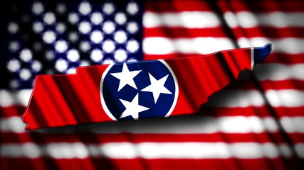 Flag of Tennessee in the shape of Tennessee state with the USA f