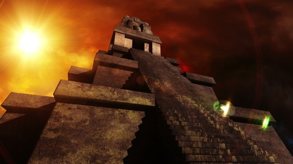 Maya Pyramid Dramatic Scene  Realistic 3D render and clouds foot