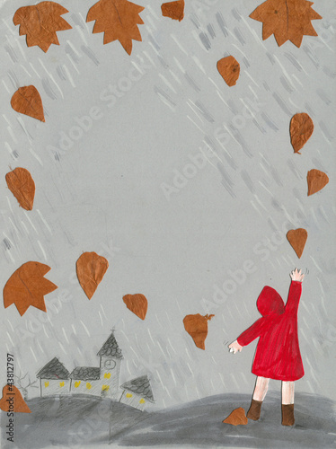Fall - little girl in a raincoat