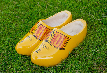 wooden shoes on grass