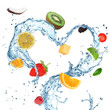Fruit with water splash heart over white