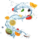Fototapety Fruit in water splash over white
