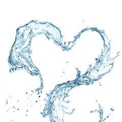 Water splash heart over white background