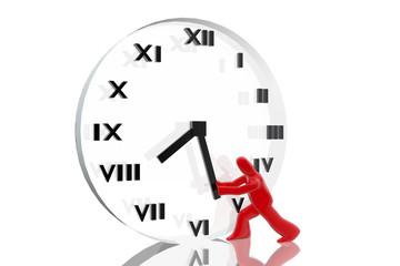 Figura intentando avanzar el tiempo en un reloj