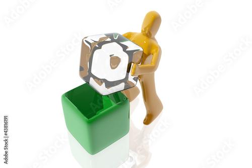 Figura encajando cubo en una caja