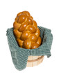 Challah bread in wicker basket