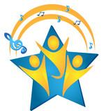 Teamwork singing talents logo poster