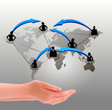 Hands holding social network  Vector illustration