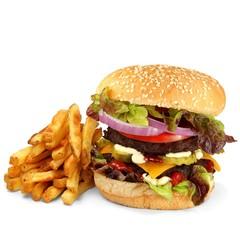 Burger mit Pommes Frites