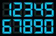 Set of blue digital number
