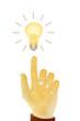 Paper texture ,Hand gesture direction bulb idea