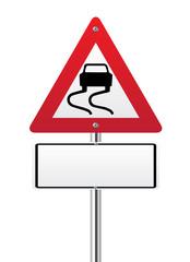 Wet road warning sign