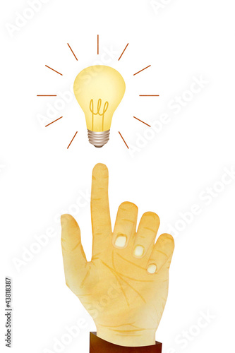 Paper texture ,Hand gesture direction bulb idea