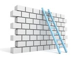Fototapety Brick block wall and ladder over a white background