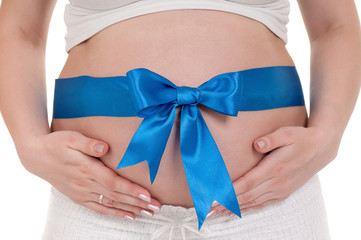 Pregnant belly with blue ribbon