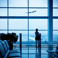 passenger silhouette in airport