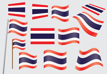set of flags of Kingdom of Thailand vector illustration