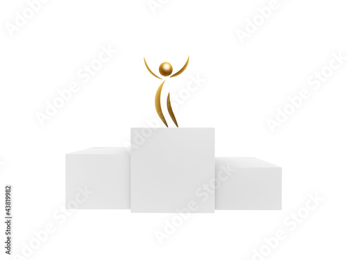 golden winner on podium