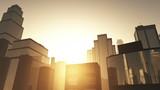 Metropolis sunset 3D animation poster