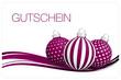 Gutschein Christbaumkugeln Muster violett/weiß