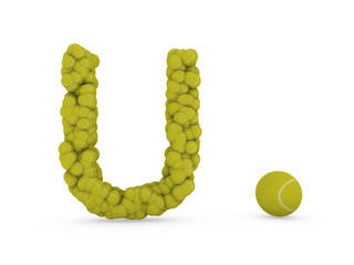 letter u make of tennis ball
