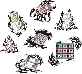 Gambling tattoos with flames