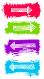 Arrows and Grunge Color Brush Vector Set