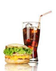 tasty sandwich and glass with cola, isolated on white