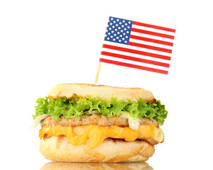 tasty sandwich with american flag, isolated on white