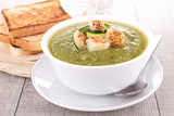 green soup and bread
