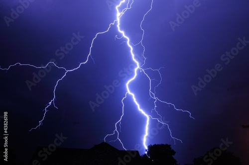 Night shot with big thunderstorm. - 43826198